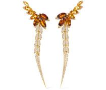 Magnipheasant Feathers Ohrringe Aus 18 Karat Gold Mit Citrinen Und Diamanten