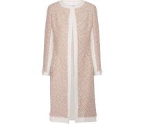 Mantel Aus Tweed In Metallic-optik Mit Canvas-besatz - Pastellrosa