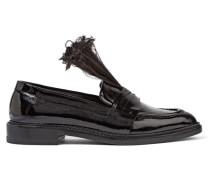 Loafers Aus Lackleder Mit Federbesatz - Schwarz