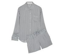 Gestreifter Pyjama Aus Satin -