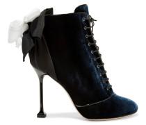 Ankle Boots Aus Samt Mit Schleifenverzierung - Mitternachtsblau