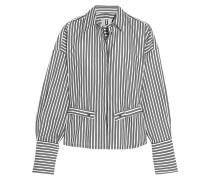 Tiller Gestreiftes Baumwollhemd In Oversized-passform - Weiß