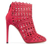 Ankle Boots Aus Lasergeschnittenem Veloursleder -