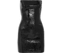Trägerloses Minikleid Aus Jersey Mit Pailletten - Schwarz