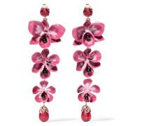 Vergoldete Ohrringe Mit Emaille, Harz Und Kristallen - Pink
