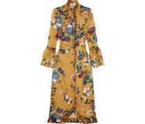 Siren Bedrucktes Kleid Aus Seidensatin Mit Rüschen -