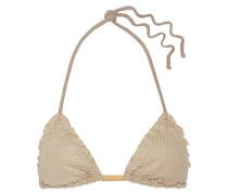 Triangel-bikini-oberteil Aus Lasergeschnittenem Velourslederimitat -