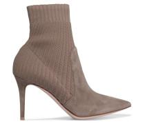 Katie 85 Sock Boots Aus Veloursleder Und Rippstrick -