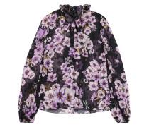 Schluppenbluse Aus Seidenchiffon Mit Floralem Print Und Rüschen -