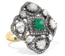 Ring Aus 18 Karat Gold Mit Diamanten Und Smaragd -