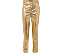 Glam Hose Mit Schmalem Bein Aus Leder In Metallic-optik -