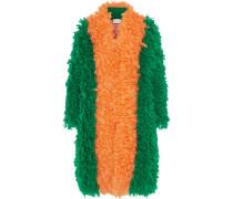 Zweifarbiger Mantel Aus Einer Mohairmischung - Smaragdgrün