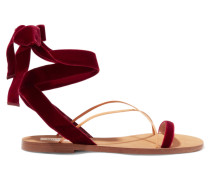 Sandalen Aus Samt Und Leder -