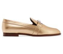 Loafers Aus Strukturiertem Leder Mit Metallic-effekt - Gold