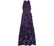 Robe Mit Fil Coupé Und Blumenapplikationen - Lila