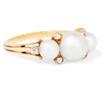 Ring Aus Den 1910er-jahren Aus 18-karat  Mit Perlen Und Diamanten
