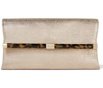 440 Envelope Clutch aus Leder mit Eidechseneffekt in Metallic-Optik