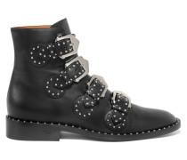 Elegant Nietenverzierte Ankle Boots Aus Leder -