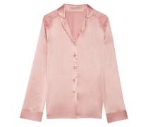 Pyjama-Hemd aus Satin aus einer Seidenmischung mit Einsätzen aus Chantilly-Spitze
