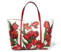 Dauphine Tote Aus Strukturiertem Leder Mit Blumenprint - Rot