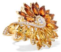 Magnipheasant Feathers Ring Aus 18 Karat Gold Mit Citrinen Und Diamanten