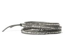 Wickelarmband Aus Leder Mit Silberdetails, Labradoriten Und Swarovski-kristallen -