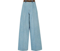 Halbhohe Jeans Mit Weitem Bein Und Velourslederbesatz - Blau