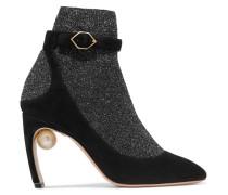 Lola Verzierte Sock Boots Aus Metallic-stretch-strick Und Veloursleder -