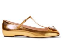 Verzierte Ballerinas Aus Leder In Metallic-optik - Gold