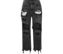Rival Verkürzte, Hoch Sitzende Jeans Mit Geradem Bein In Distressed-optik -