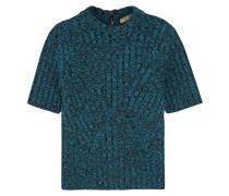 Pullover aus einer gerippten Wollmischung mit Metallic-Effekt