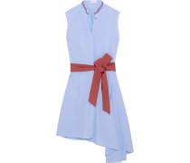 Asymmetrisches Kleid Aus Baumwollpopeline Mit Gürtel - Blau