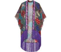 Bird of Paradise bedruckter Kimono aus Seidenchiffon mit Fransen