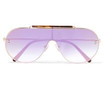 Verspiegelte Oversized-pilotensonnenbrille Aus Azetat In Hornoptik Mit Goldfarbenen Details -