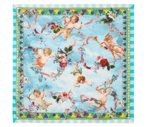 Bedrucktes Tuch aus Seidensatin -