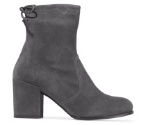 Shorty Ankle Boots Aus Elastischem Veloursleder - Grau