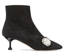 Ankle Boots Aus Veloursleder Mit Kristall- Und Kunstperlenverzierung -