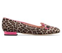 + Barbie® Kitty Bestickte Slippers Aus Samt Mit Leopardenprint - Leoparden-Print
