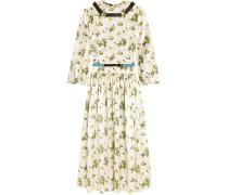 Kleid Aus Satin Mit Blumendruck Und Gürtel - Wollweiß