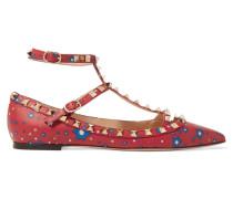The Rockstud Flache Schuhe Aus Bedrucktem Leder Mit Spitzer Kappe - Rot