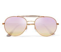 Bronzefarbene Pilotensonnenbrille Mit Verspiegelten Gläsern Und Details Aus Azetat - Flieder