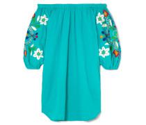 Schulterfreies Minikleid aus Bestickter Baumwolle in Knitteroptik -
