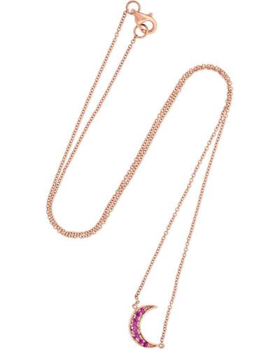 Mini Crescent Kette aus 18 Karat  mit Rubinen