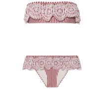 Meridian Gestreifter Bandeau-bikini Mit Lochstickerei -