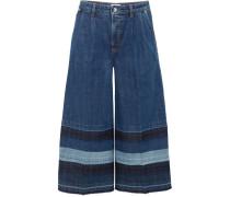 Halbhohe, Verkürzte Jeans Mit Weitem Bein Und Streifen -
