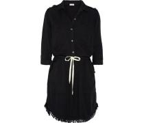 Kleid Aus Voile Mit Fransen - Schwarz