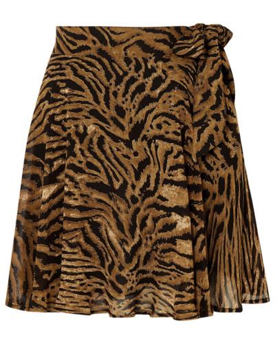 Minirock aus Georgette mit Tigerprint
