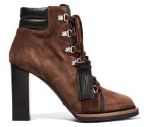 Ankle Boots Aus Veloursleder Mit Lederbesätzen Und Schnürung - Braun