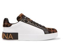 Sneakers aus Leder und Kalbshaar