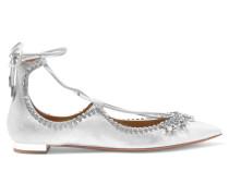 Christy Flache Schuhe Mit Spitzer Kappe Und Kristallverzierung - Silber